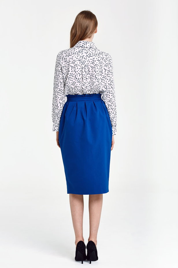Blue skirt with buttons and ruffled belt photo 2 - MustHave online store