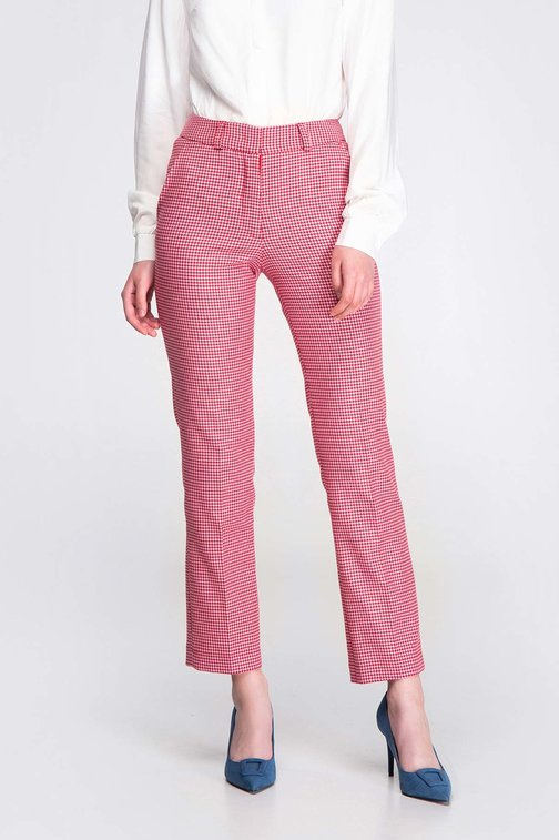 Pink-red houndstooth pants