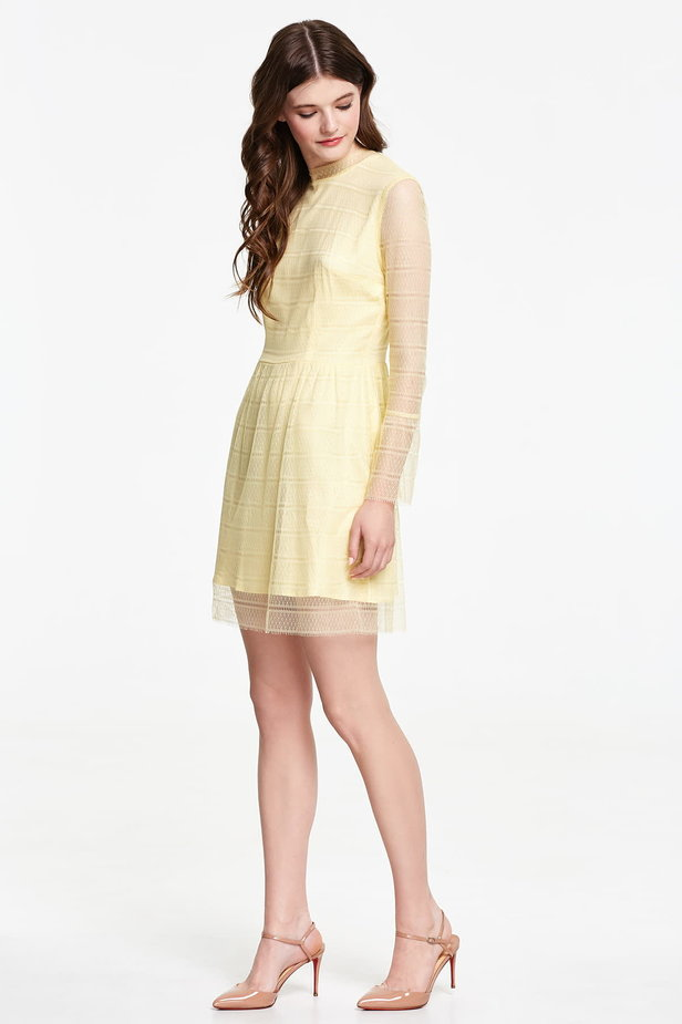 Mini yellow lace dress with flounced sleeves photo 3 - MustHave online store