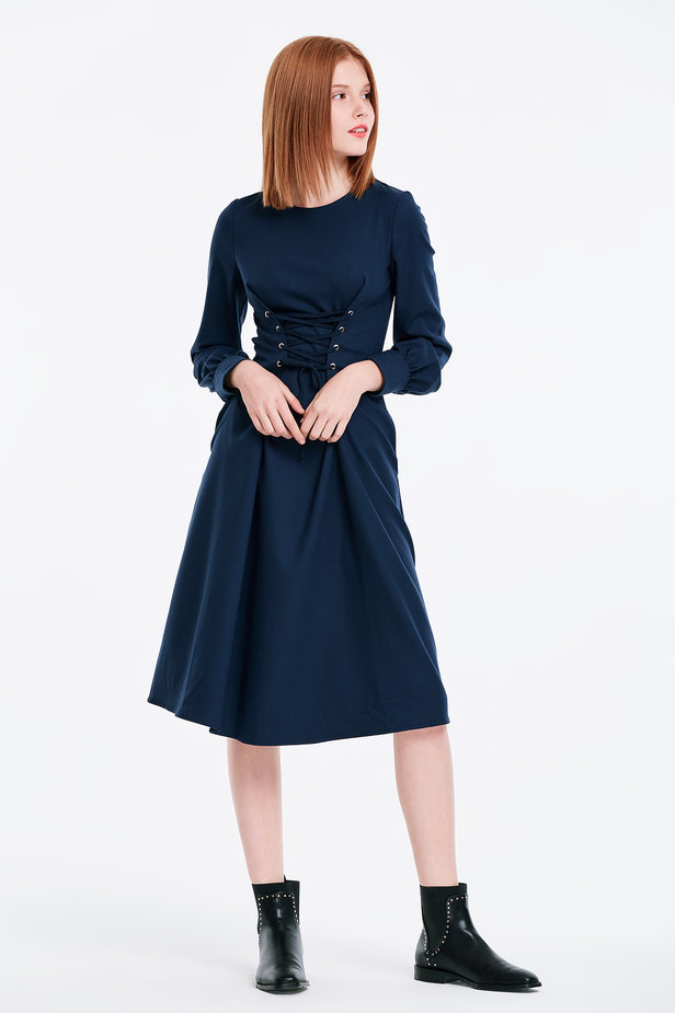 Laced dark blue dress photo 5 - MustHave online store
