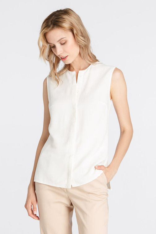 Milk shirt with a concealed placket