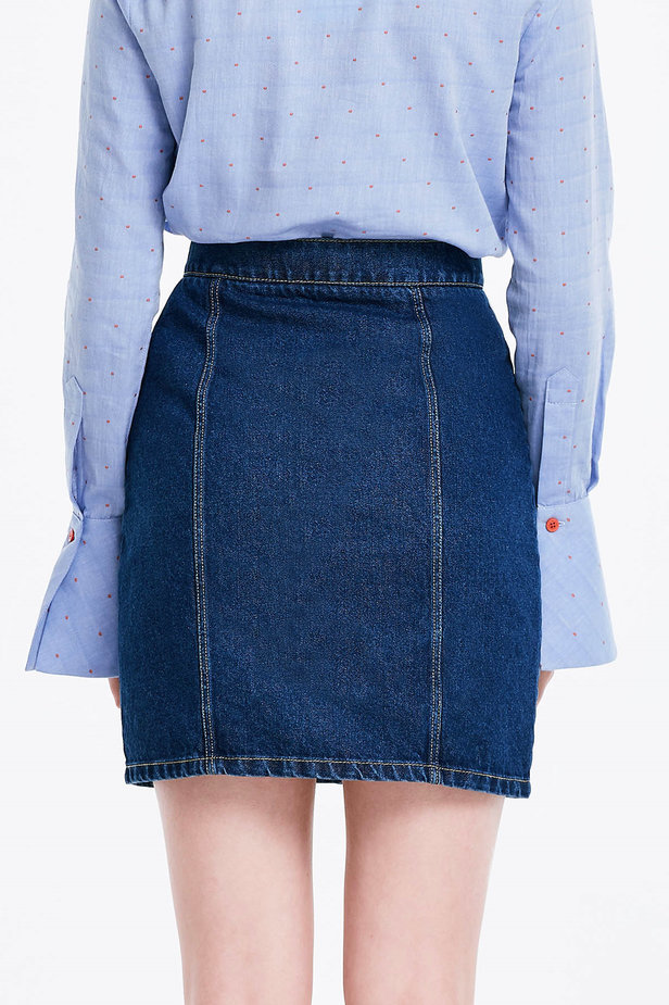 Mini denim skirt with buttons photo 2 - MustHave online store
