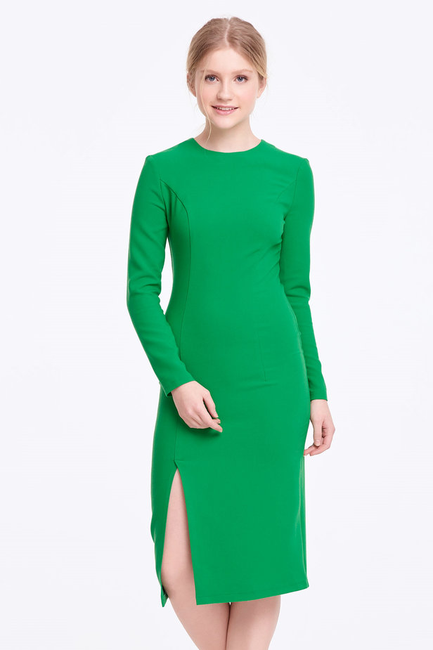 Column green dress with a slit photo 1 - MustHave online store