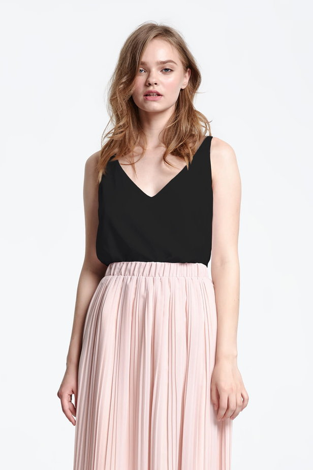 Black top with a low neckline photo 1 - MustHave online store