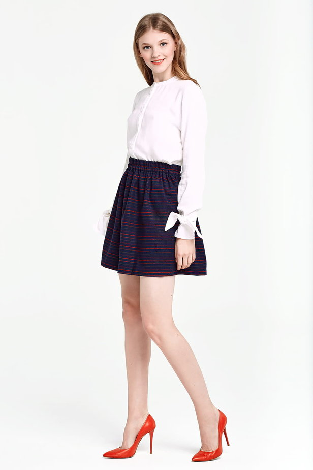 Dark blue skirt with an elastic waistband and red stripes photo 2 - MustHave online store