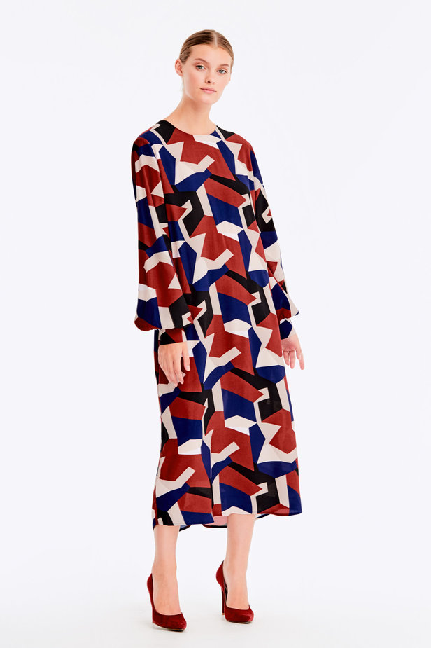 Free midi dress with variegated geometric print ¶¶ photo 9 - MustHave online store