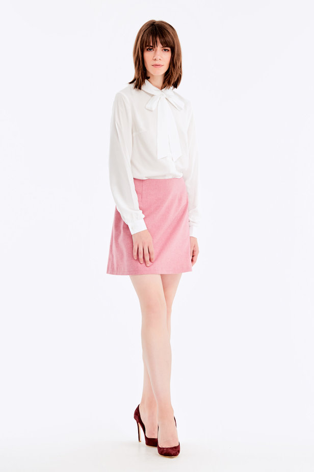 Mini skirt with pink herringbone print photo 6 - MustHave online store