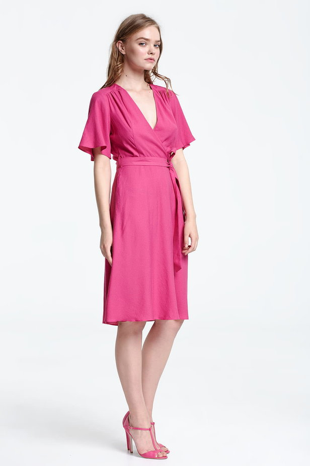 Below the knee wrap fuschia dress photo 5 - MustHave online store