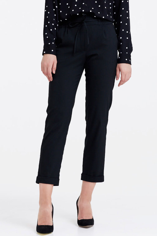 Black trousers with an elastic waistband