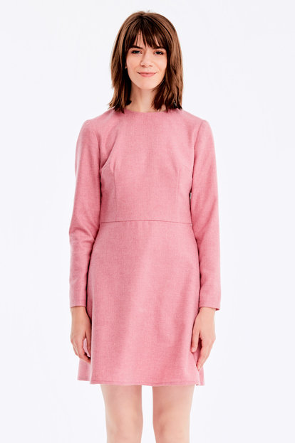 Below knee pink dress with herringbone print