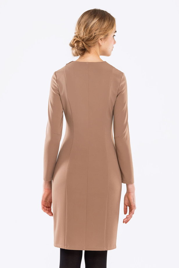 Beige dress with buttons photo 3 - MustHave online store