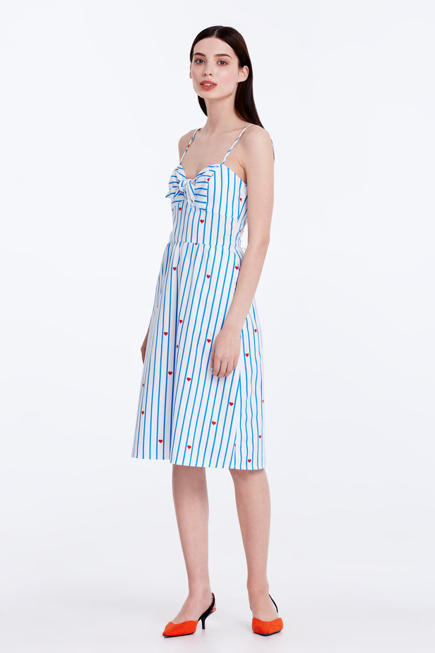 Sundress with blue stripes, hearts and ties photo 4 - MustHave online store