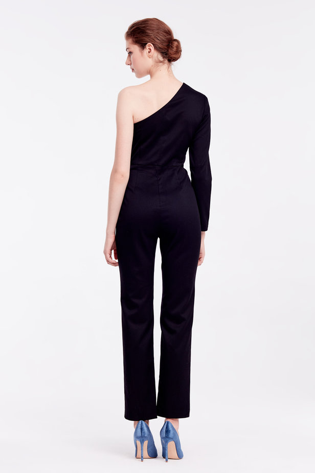 One shoulder black jumpsuit photo 4 - MustHave online store