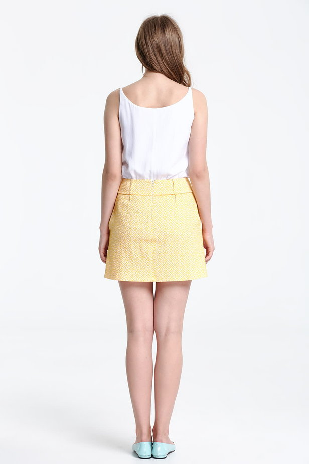 Mini skirt with a yellow pattern photo 3 - MustHave online store
