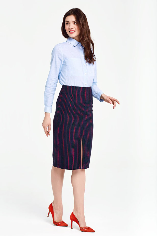 Below the knee dark blue pencil skirt with red stripes photo 5 - MustHave online store