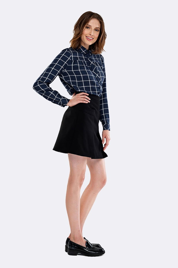 Checked shirt with pleats on the chest photo 6 - MustHave online store