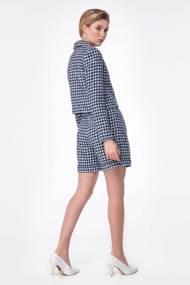 Shortened jacket with blue&white houndstooth print photo 6 - MustHave online store