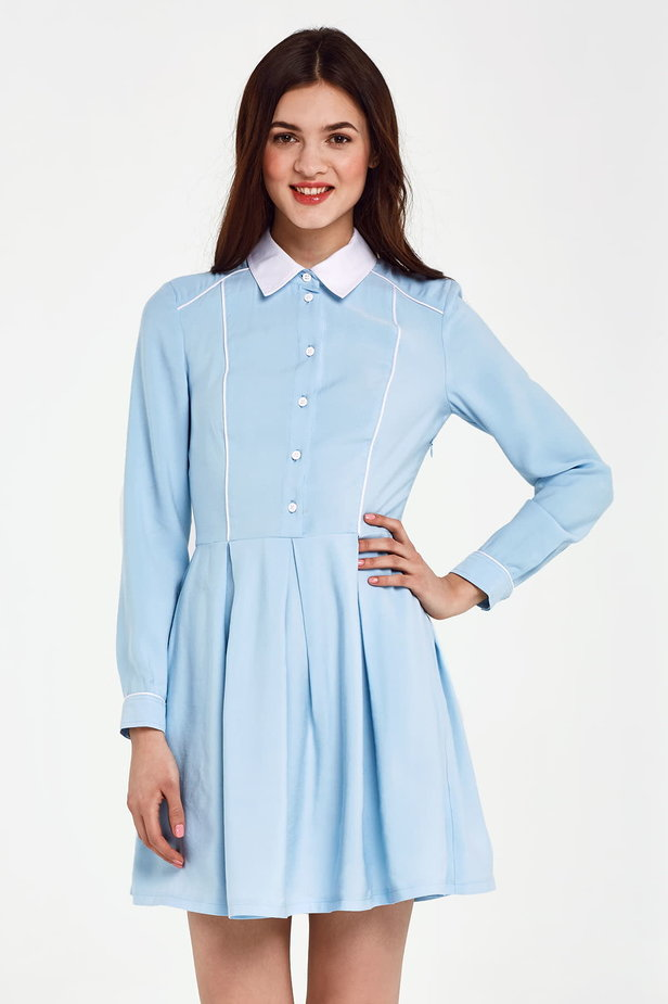 Blue dress with a white collar and piping photo 1 - MustHave online store