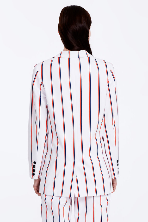 Double-breasted white jacket with blue and red stripes photo 6 - MustHave online store