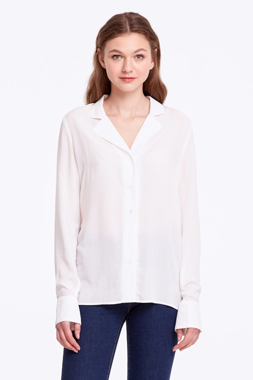White shirt with a double collar
