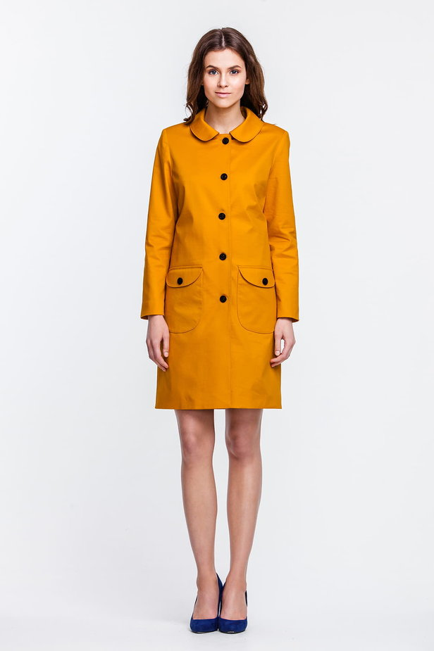 Mustard trenchcoat with a round collar and patch pockets photo 1 - MustHave online store