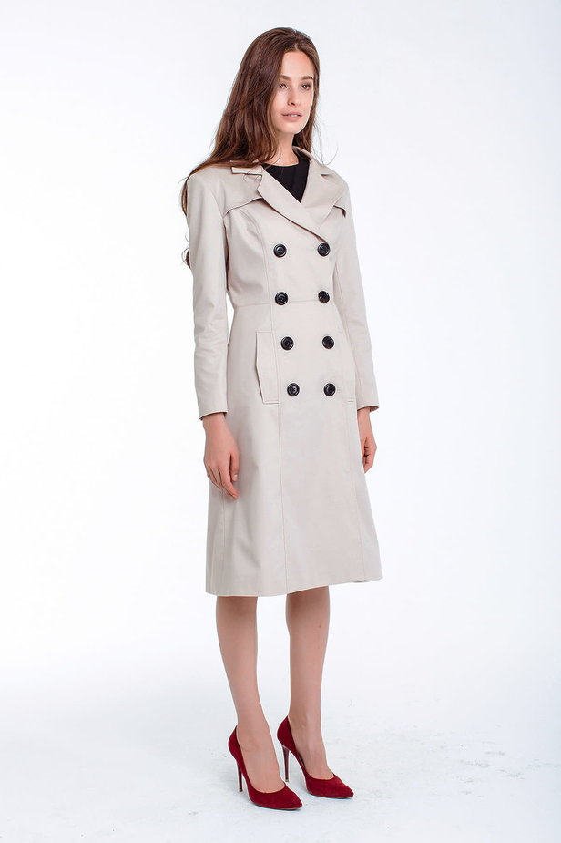 Double-breasted beige trenchcoat photo 7 - MustHave online store