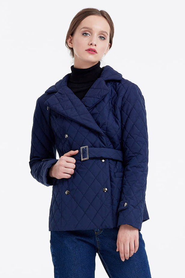 Blue coat with a belt photo 1 - MustHave online store