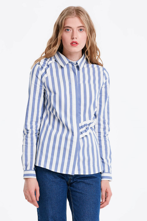 White shirt with blue stripes and ruffles