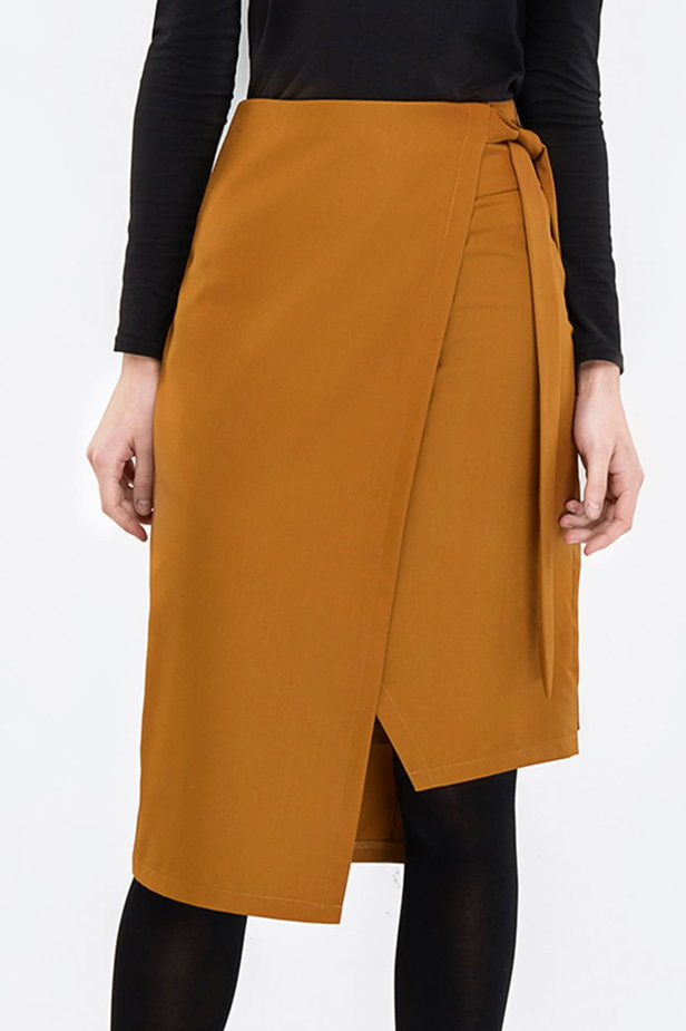 Wrap mustard skirt photo 1 - MustHave online store