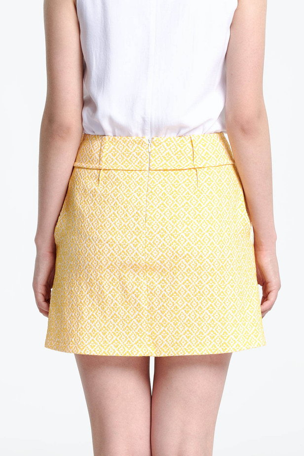 Mini skirt with a yellow pattern photo 4 - MustHave online store