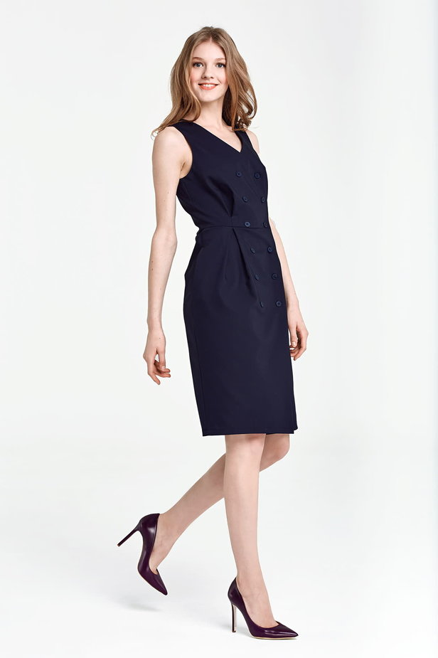 Dark blue column dress with buttons below the knee photo 5 - MustHave online store
