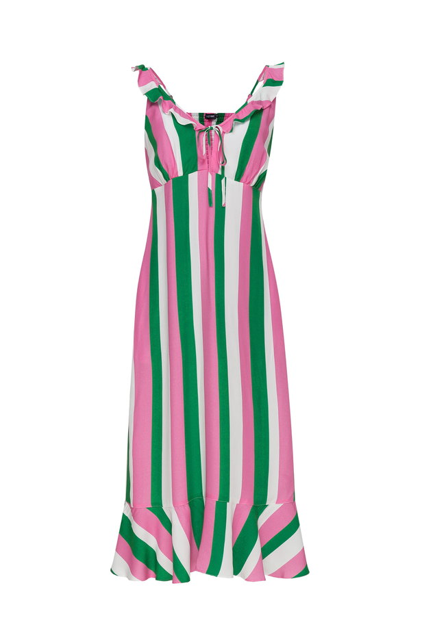Sundress with white, green and pink stripes and a flounce photo 8 - MustHave online store
