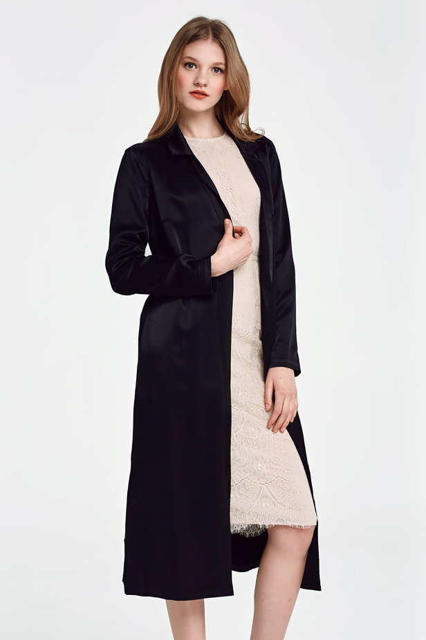 Below the knee wrap black trenchcoat with a belt photo 1 - MustHave online store