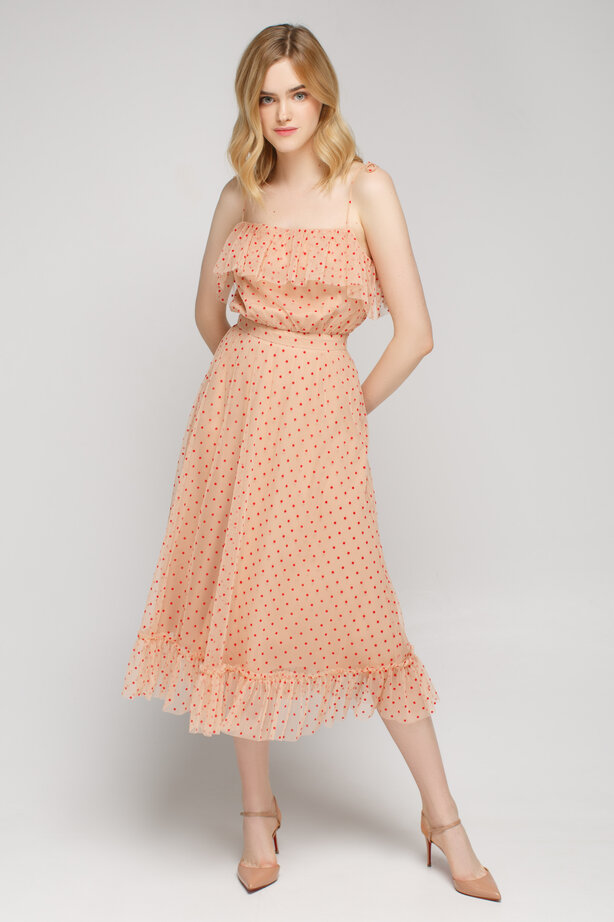 Beige tulle polka dot sundress below the knee with ruffles
