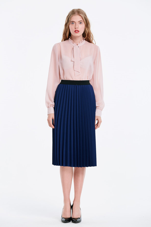 Below the knee pleated blue skirt photo 5 - MustHave online store