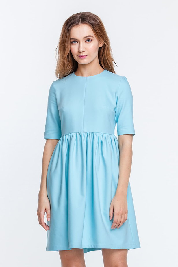 Mini blue dress with a peg-top skirt photo 1 - MustHave online store