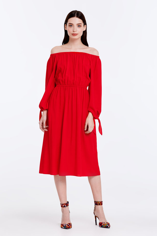 Off-shoulder red dress photo 2 - MustHave online store
