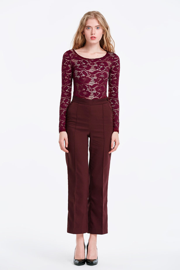 Burgundy lace bodysuit photo 5 - MustHave online store