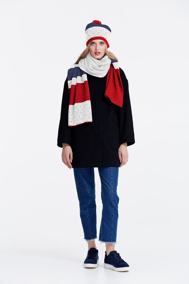 White scarf with red and blue stripes photo 2 - MustHave online store