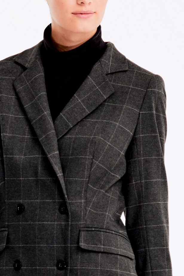 Double-breasted grey checkered jacket photo 7 - MustHave online store