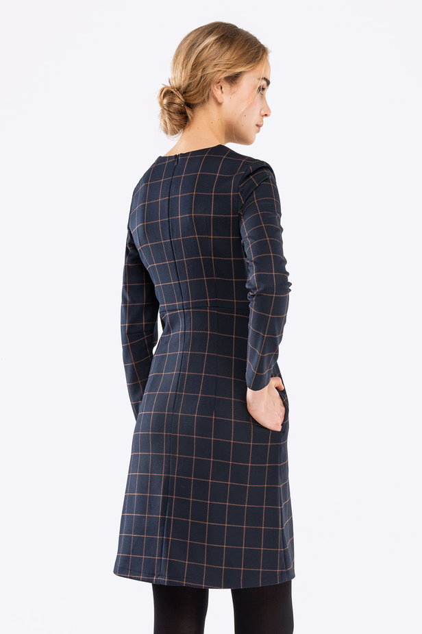 Blue A-line checked dress photo 3 - MustHave online store
