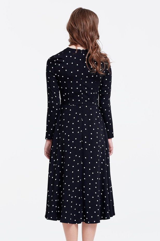 Midi black dress with a white polka dot print photo 4 - MustHave online store