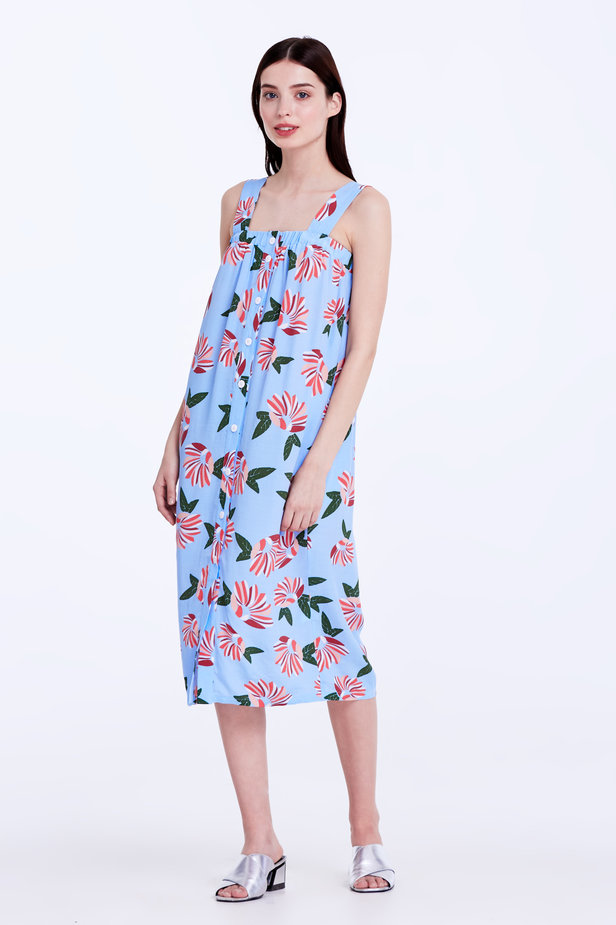 Blue sundress with a floral print and buttons photo 4 - MustHave online store