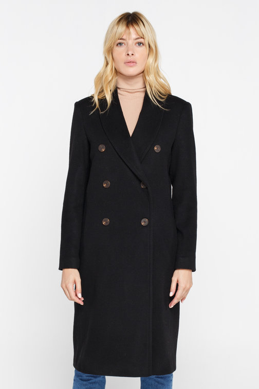 Black double-breasted wool and cashmere coat