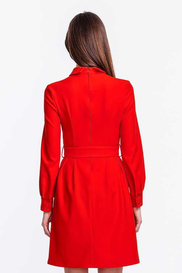 Red dress with a concealed placket and belt photo 3 - MustHave online store