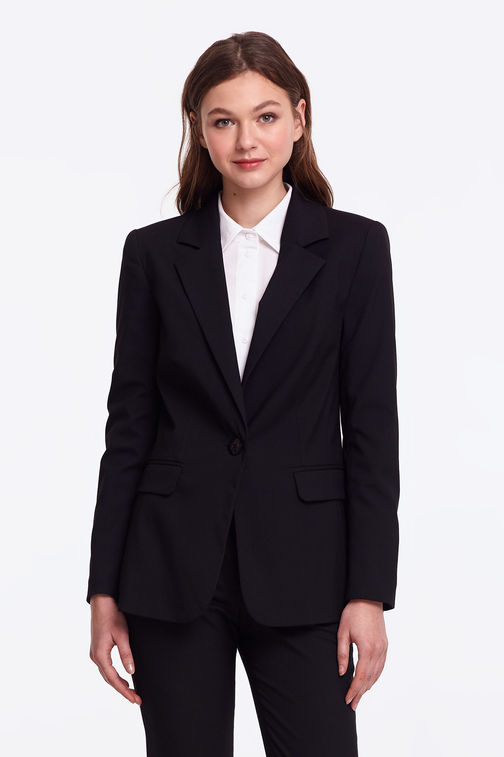 Black jacket with a button