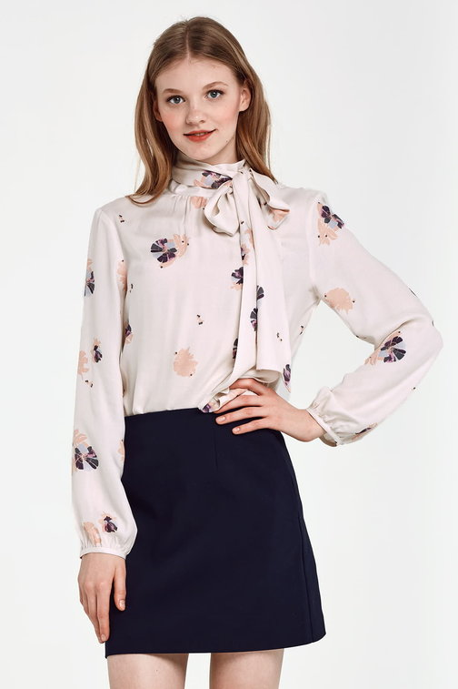 Beige blouse with a bow, floral print