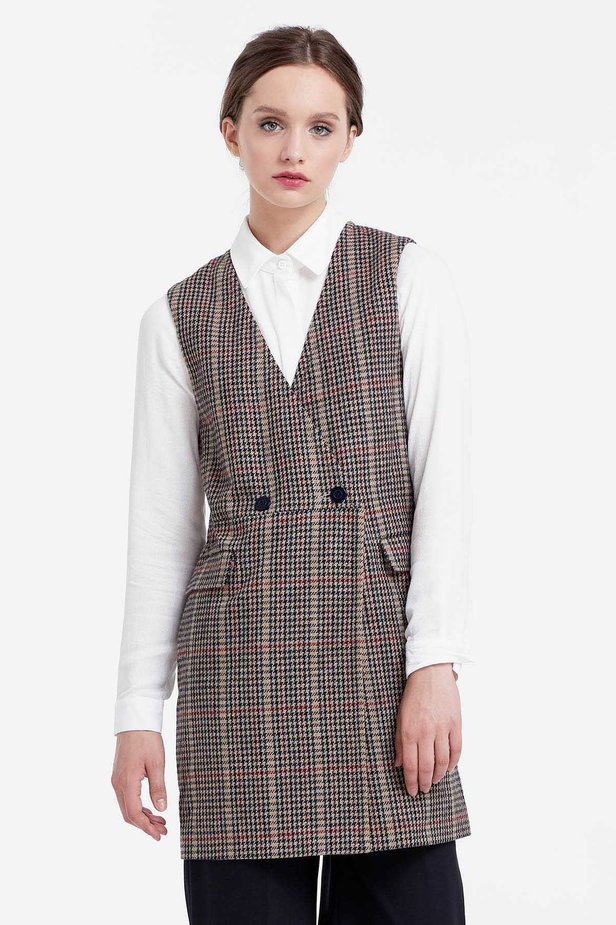 Long vest with a brown houndstooth print photo 1 - MustHave online store