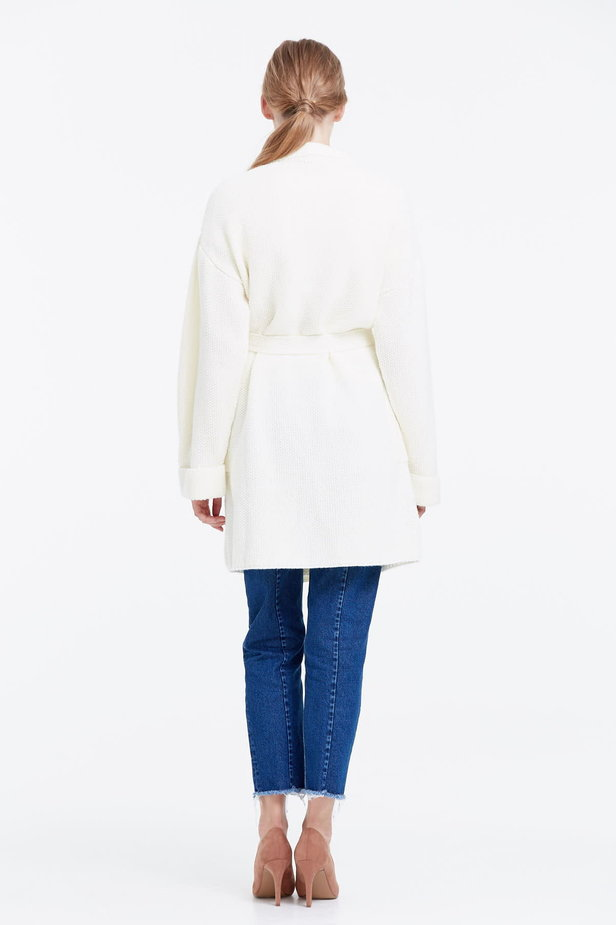 Milky cardigan with a belt photo 2 - MustHave online store