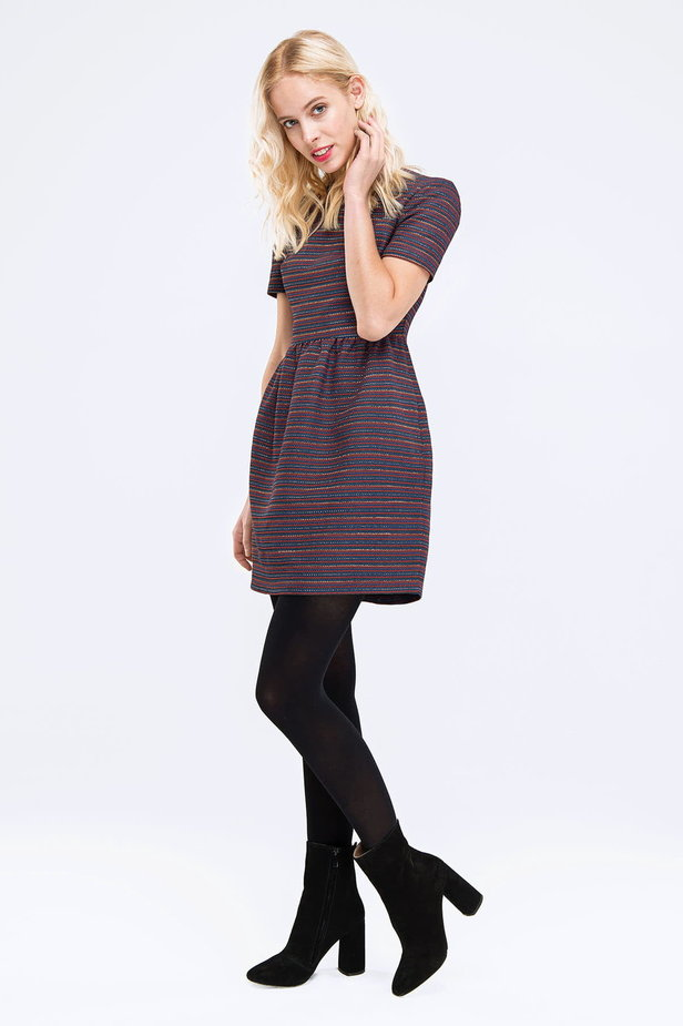 Above the knee striped dress with lurex photo 4 - MustHave online store